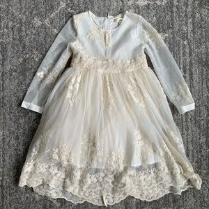 Little girls ivory lace dress - special occasion